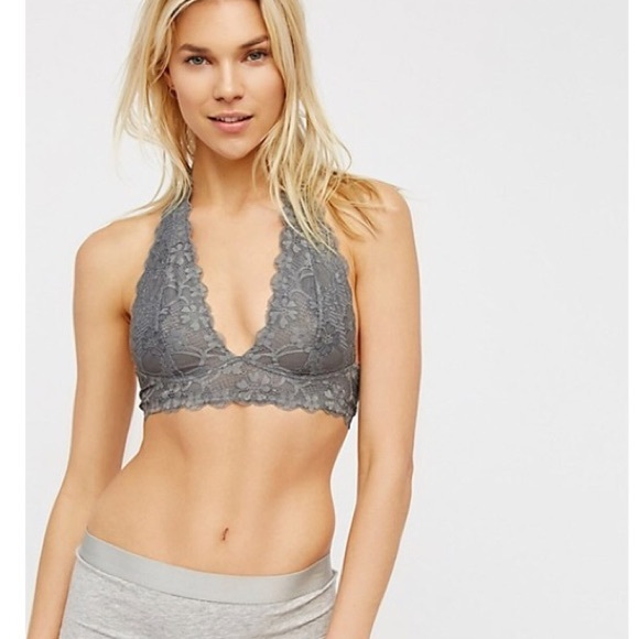 4da10a4bbb Free People Other - Free People Gray Galloon Lace Halter Bralette